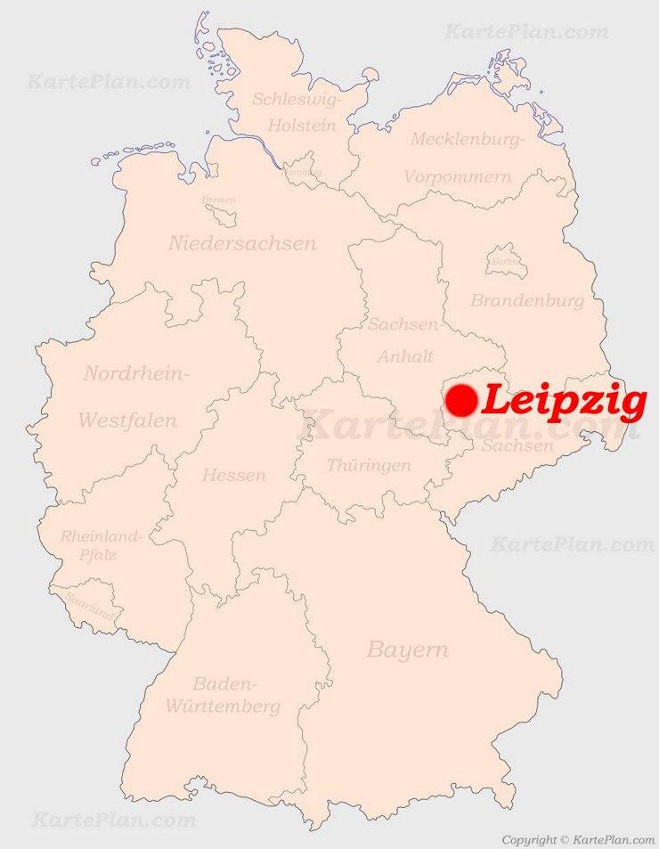Leipzig auf der Deutschlandkarte