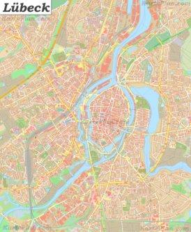 Große detaillierte stadtplan von Lübeck