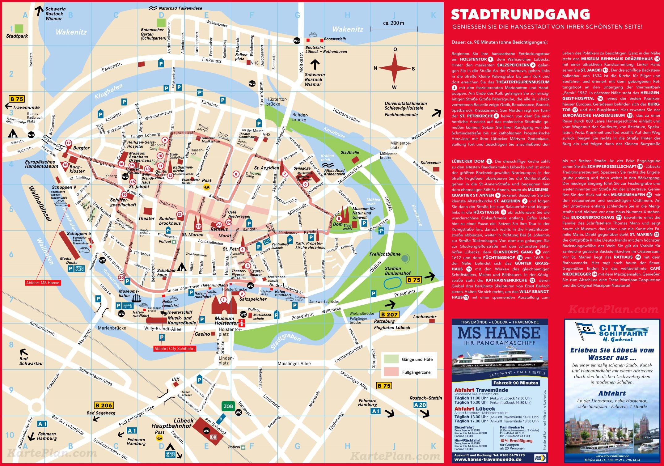 Karte Lübeck.Stadtplan Lübeck Mit Sehenswürdigkeiten