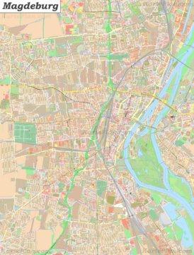 Große detaillierte stadtplan von Magdeburg