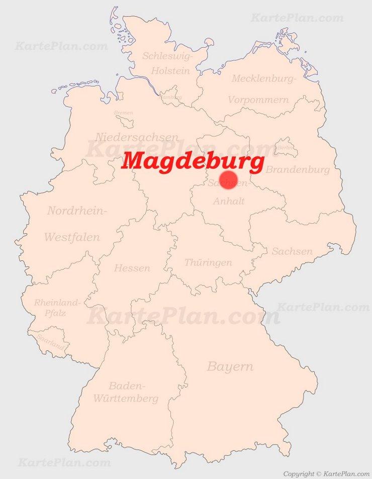 Magdeburg auf der Deutschlandkarte