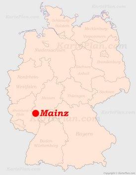 Mainz auf der Deutschlandkarte