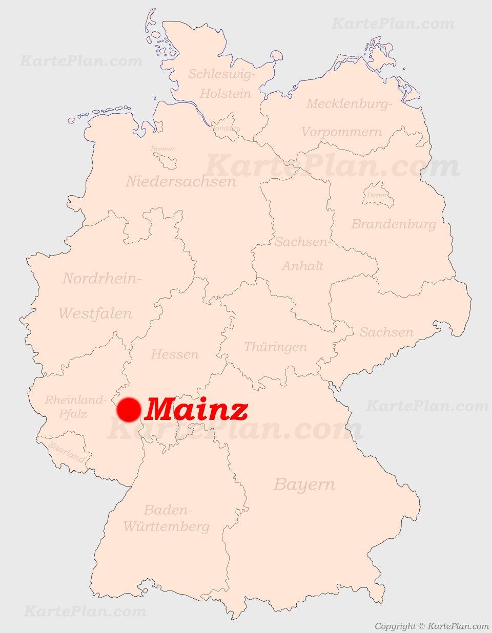 deutschland karte mainz Mainz auf der Deutschlandkarte