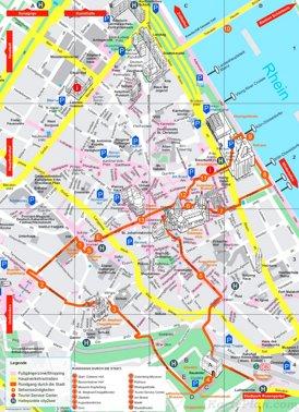 Touristischer stadtplan von Mainz