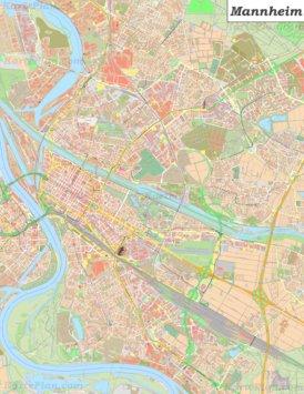 Große detaillierte stadtplan von Mannheim