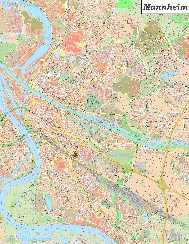 Mannheim Bundesland Karte.Große Detaillierte Stadtplan Von Mannheim