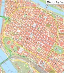 Karte von Mannheims Zentrum