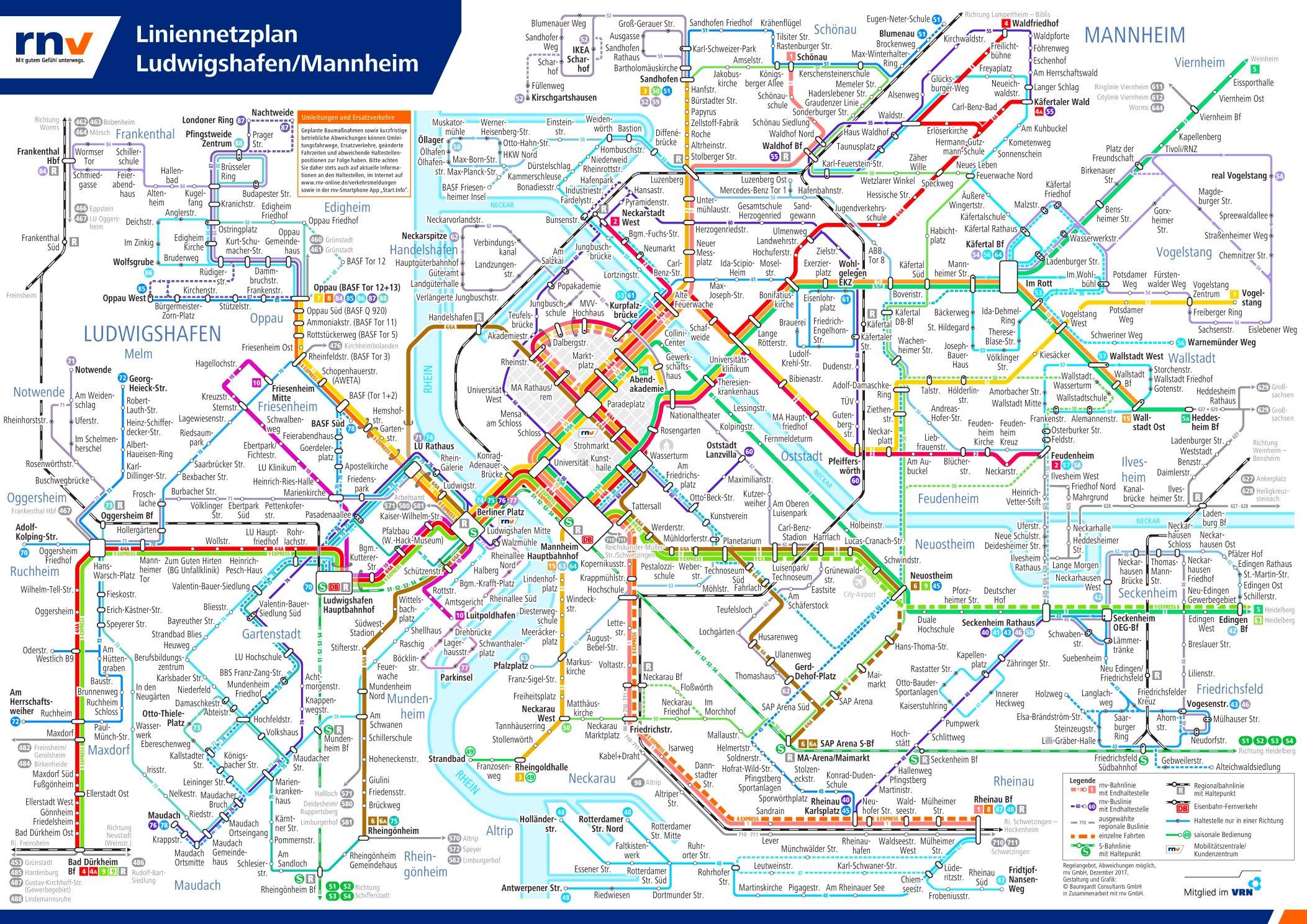 Mannheim Bundesland Karte.Liniennetzplan Mannheim Ludwigshafen