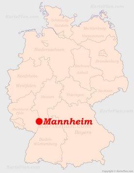 Mannheim auf der Deutschlandkarte