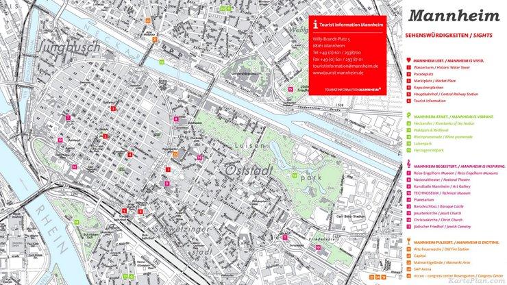 Stadtplan Mannheim mit sehenswürdigkeiten