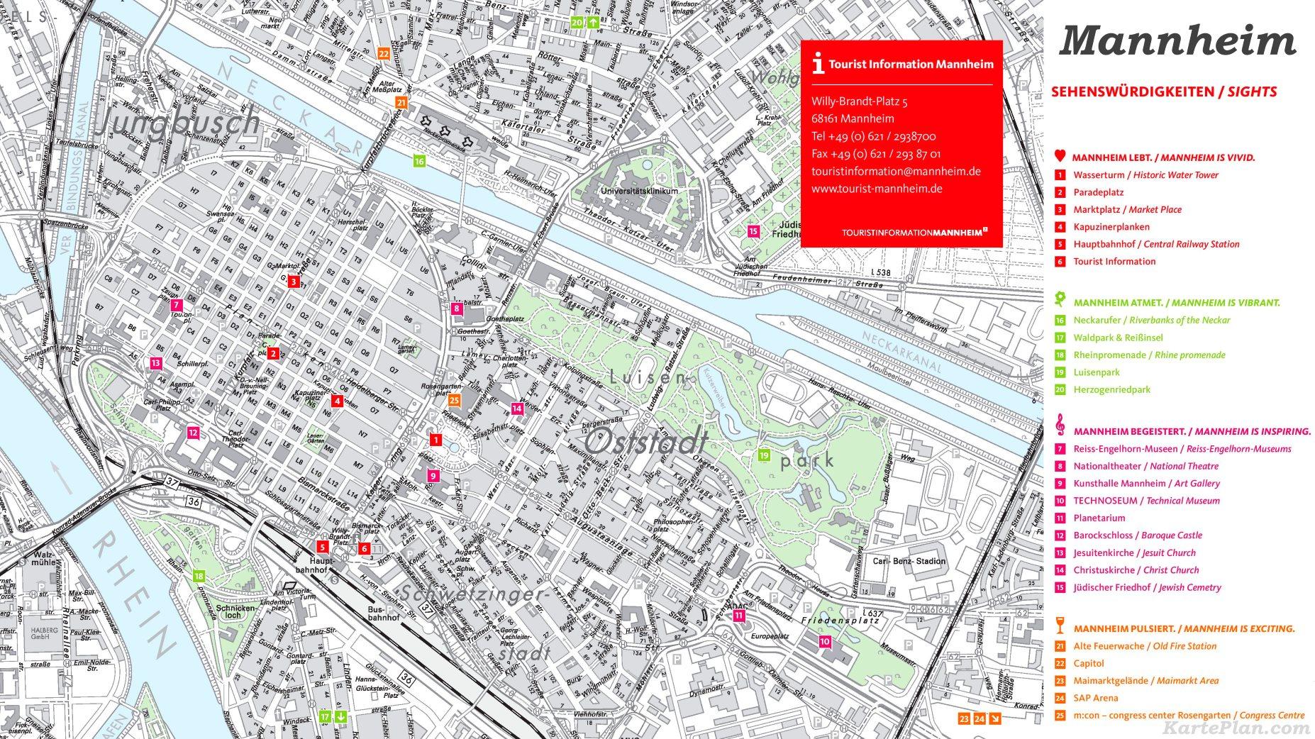 Mannheim Bundesland Karte.Stadtplan Mannheim Mit Sehenswürdigkeiten