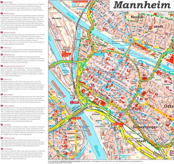Touristischer stadtplan von Mannheim