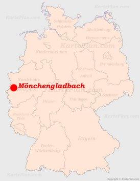 Mönchengladbach auf der Deutschlandkarte