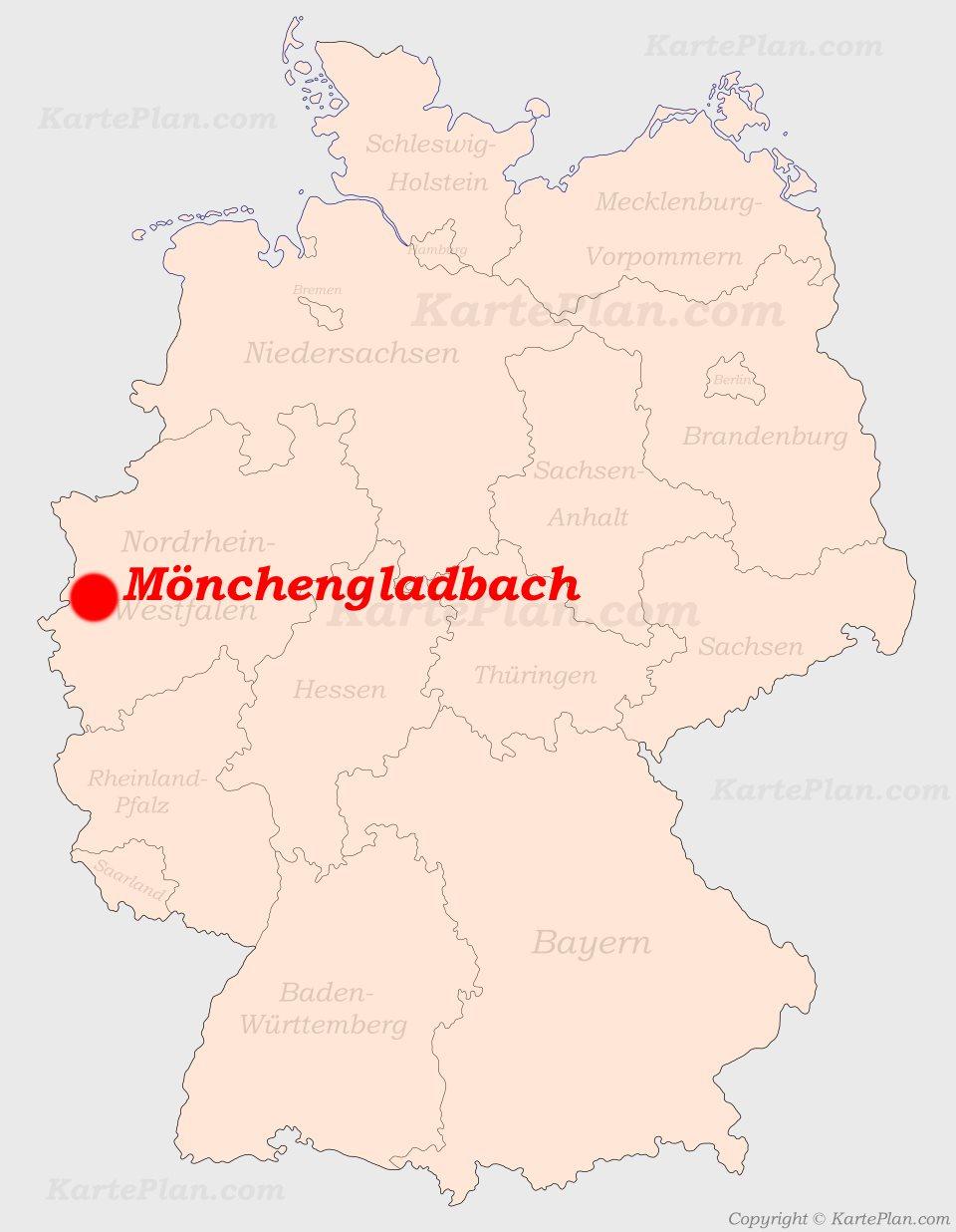 mönchengladbach karte deutschland Mönchengladbach auf der Deutschlandkarte