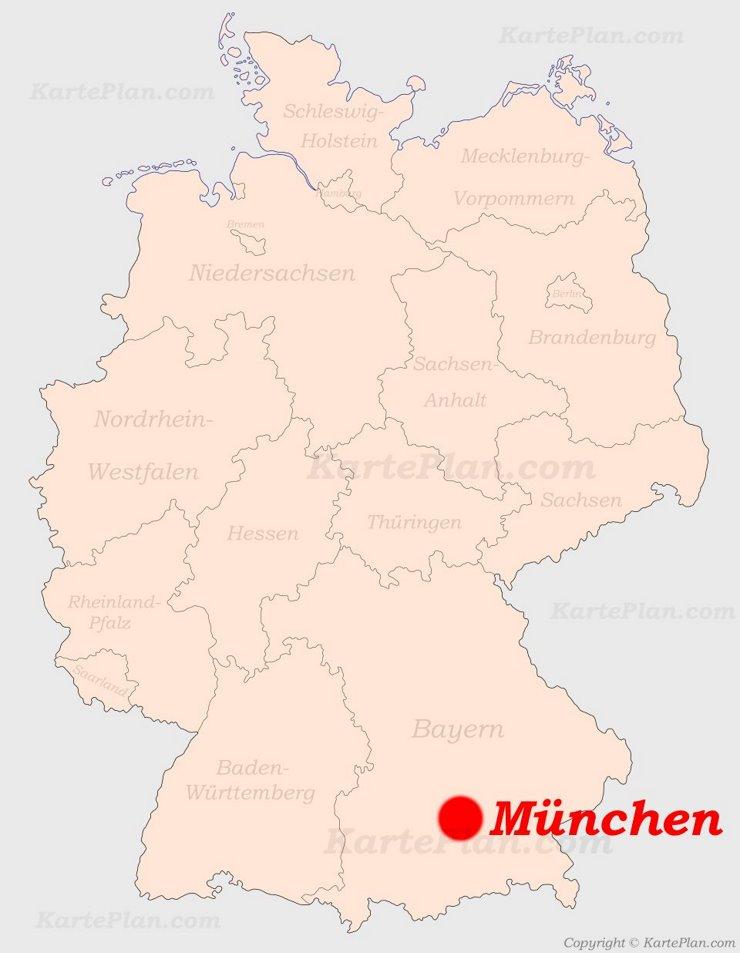 München auf der Deutschlandkarte