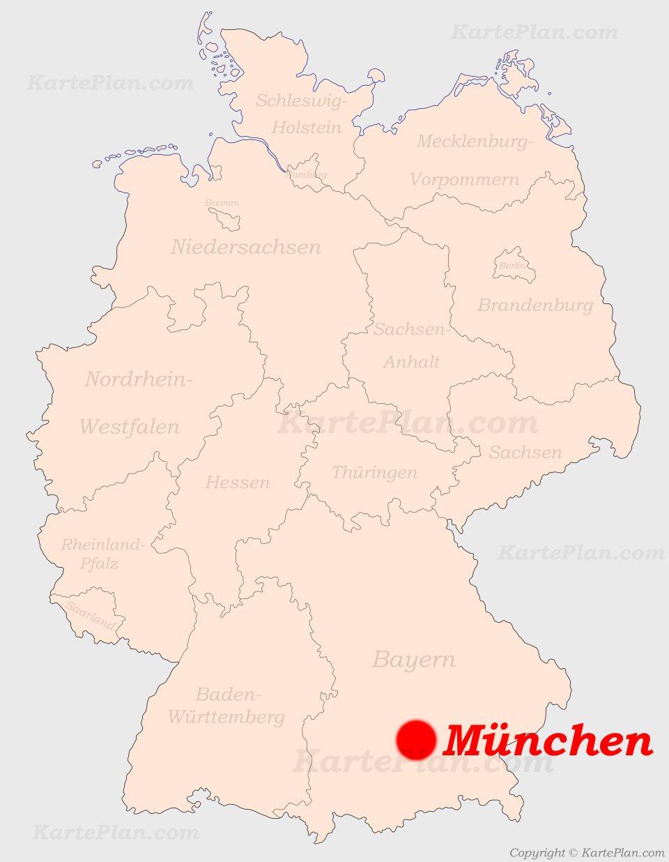 Munchen Auf Der Deutschlandkarte