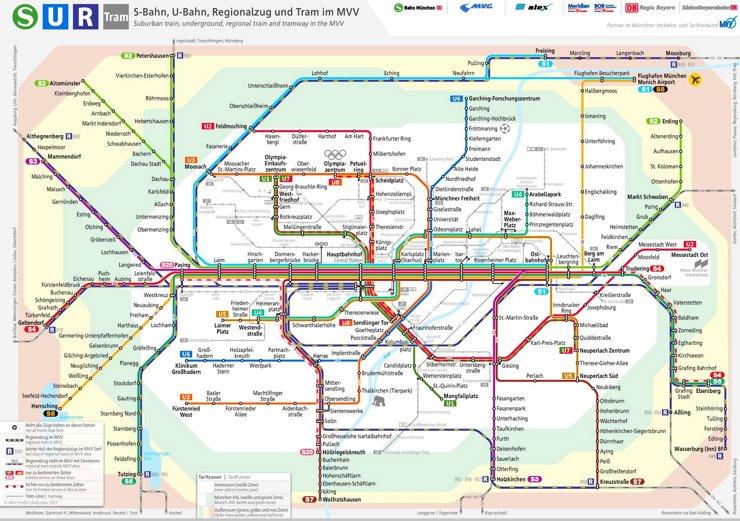 München Regionalzug, S-Bahn und U-Bahn plan