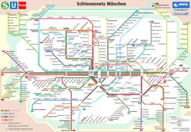 München Straßenbahn, S-Bahn und U-Bahn plan