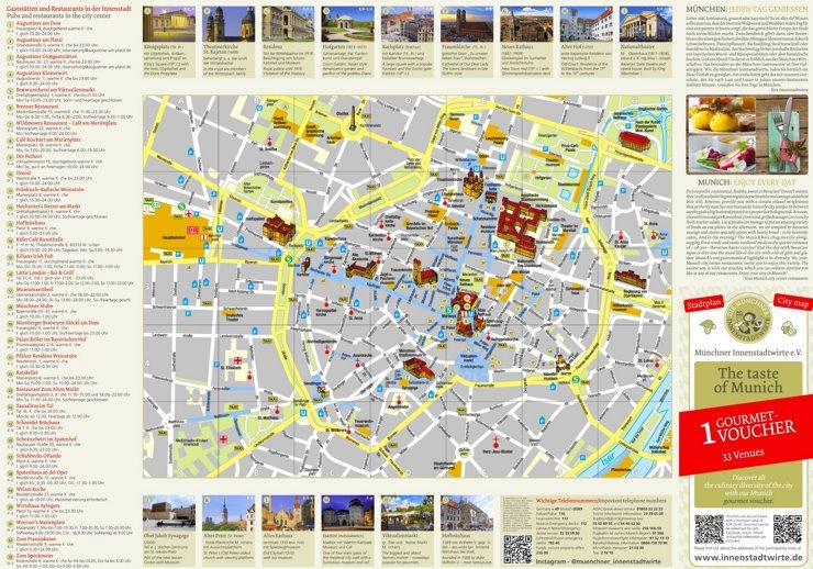 Stadtplan München mit Restaurants und Gaststätten