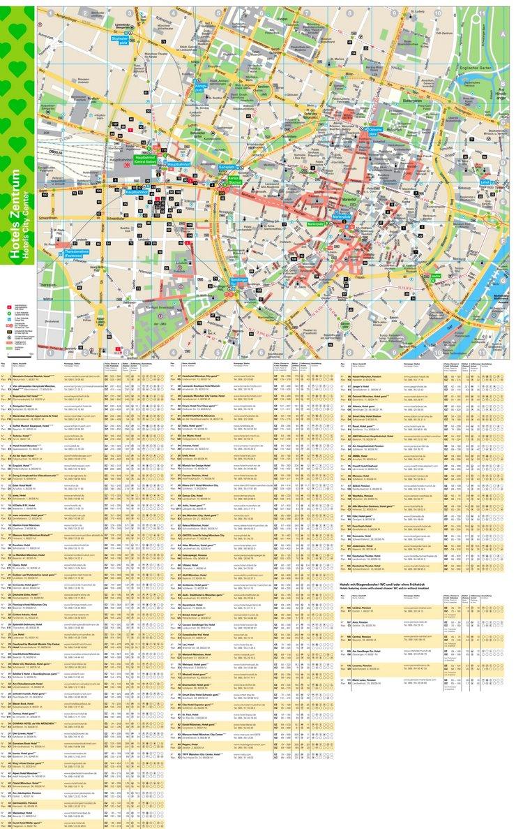 Stadtplan München mit hotels