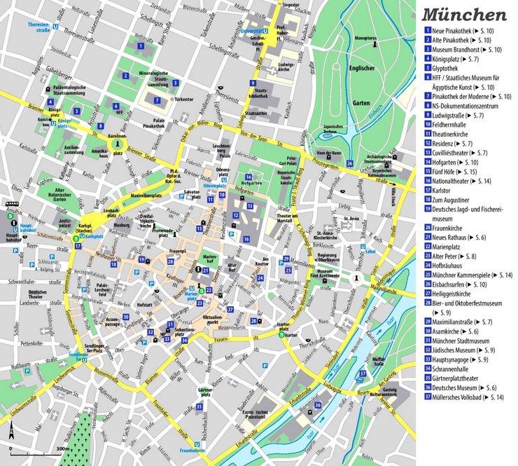Stadtplan München mit sehenswürdigkeiten