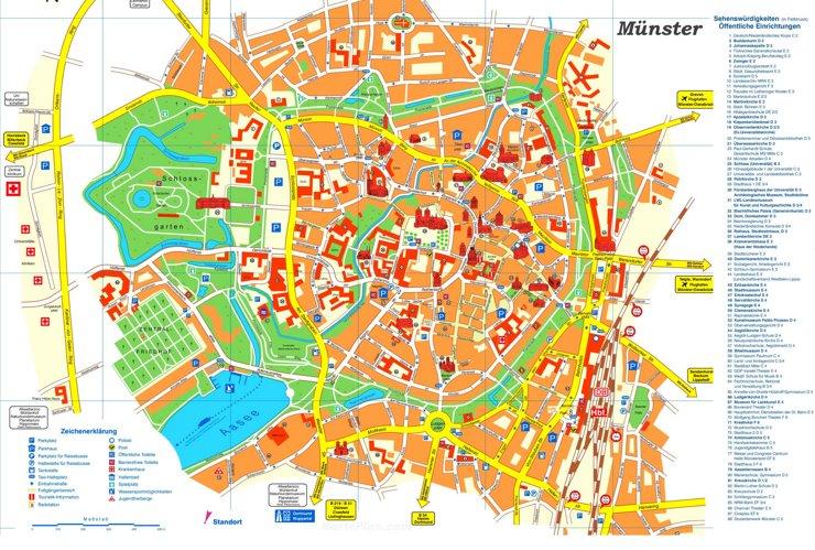 Touristischer stadtplan von Münster
