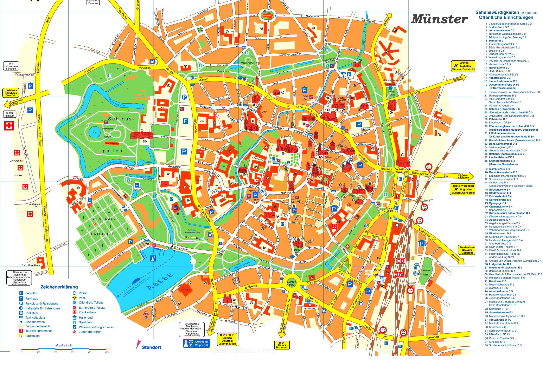 Touristischer Stadtplan Von Munster