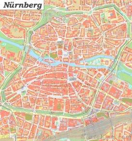 Karte von Nürnbergs Zentrum