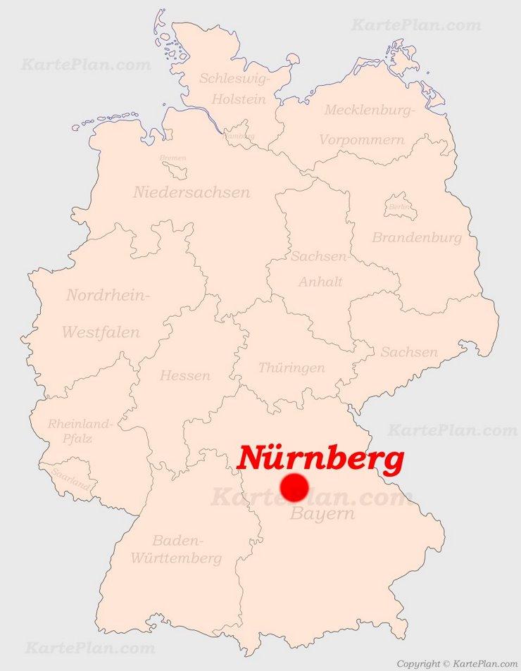 Nürnberg auf der Deutschlandkarte