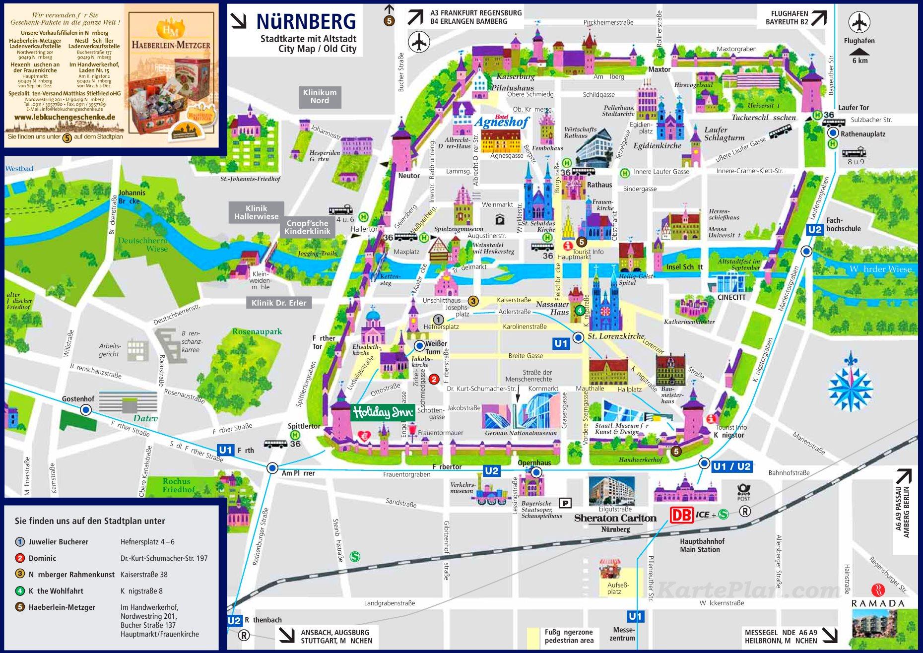 Stilistische Darstellung der Sehenswürdigkeiten Nürnbergs für einen schnellen Überblick
