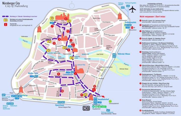 Stadtplan Nürnberg mit sehenswürdigkeiten