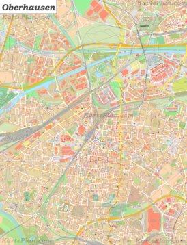 Große detaillierte stadtplan von Oberhausen