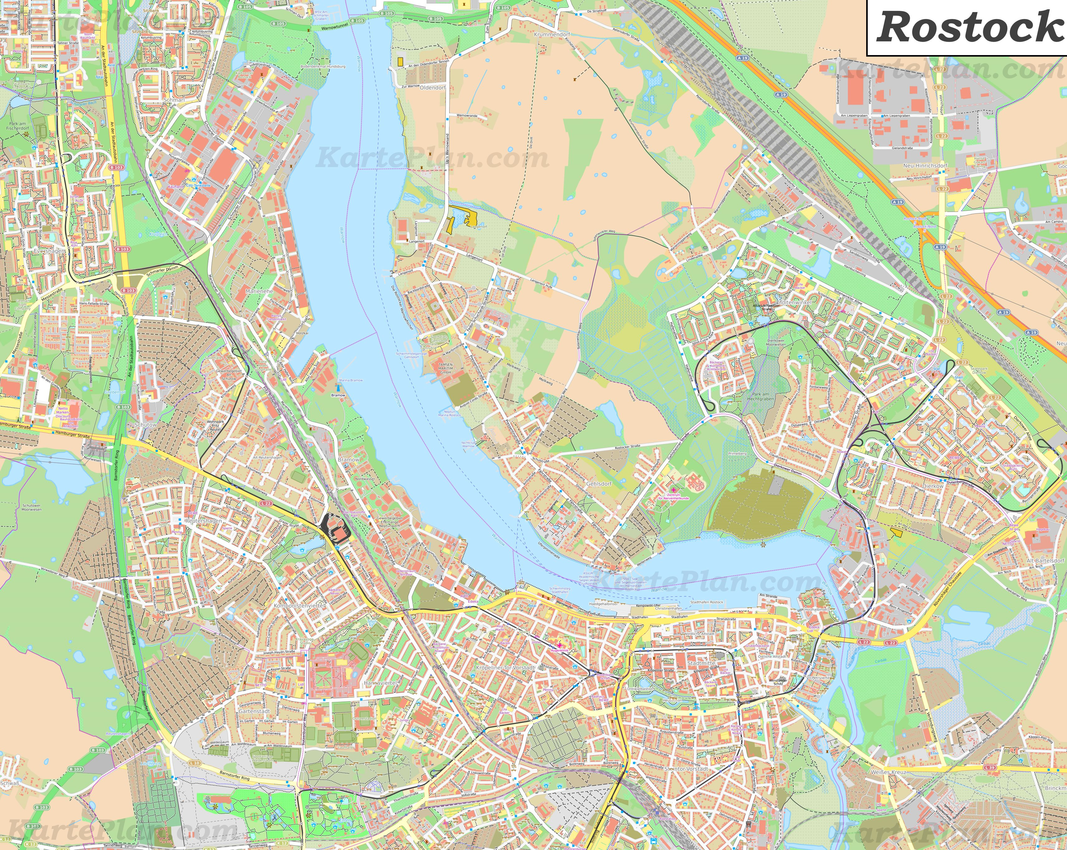 Grosse Detaillierte Stadtplan Von Rostock