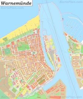 Große detaillierte stadtplan von Warnemünde
