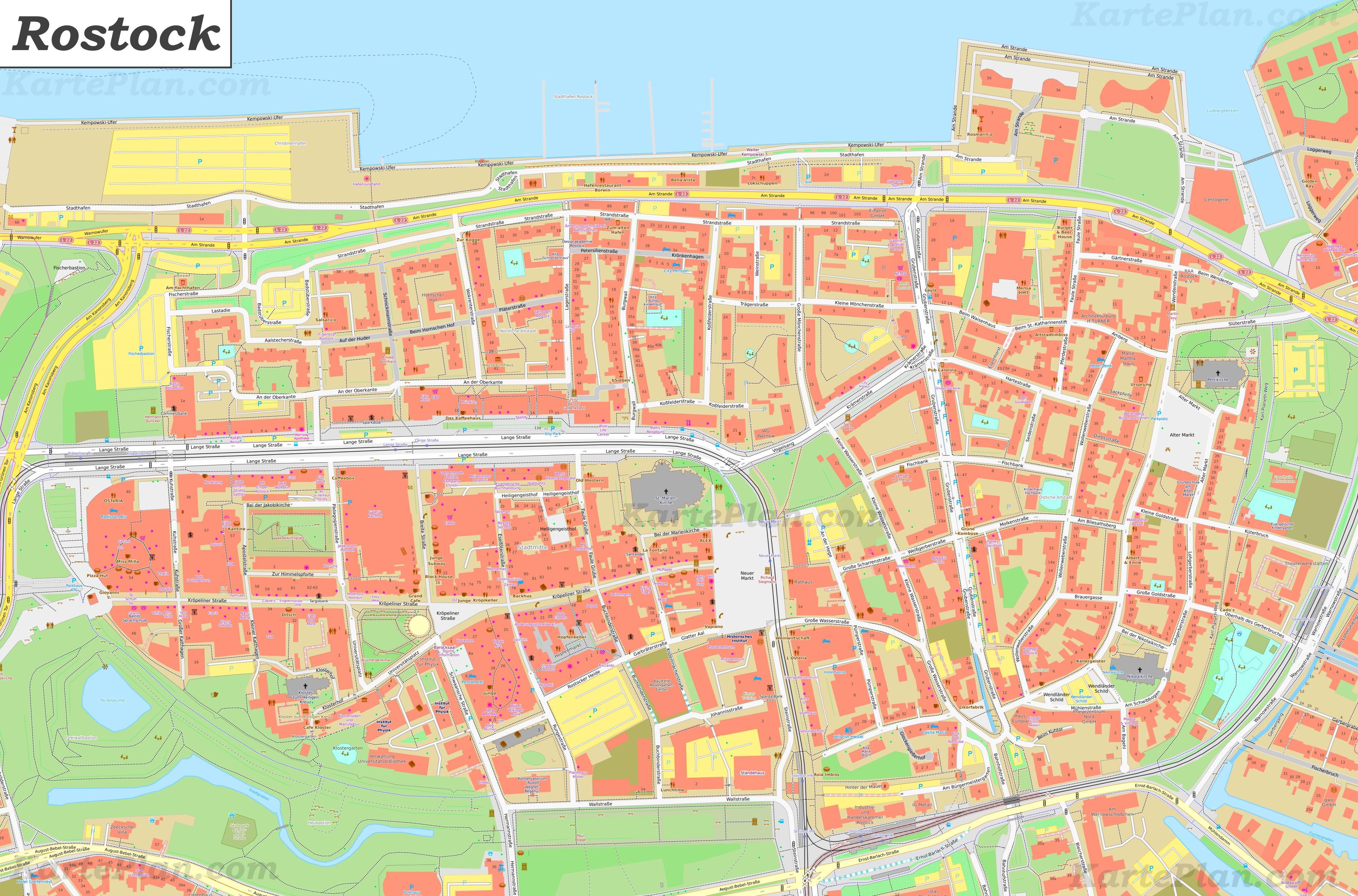 Karte Von Altstadt Rostock