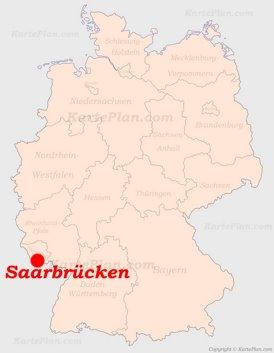 Saarbrücken auf der Deutschlandkarte