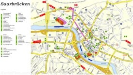 Touristischer stadtplan von Saarbrücken