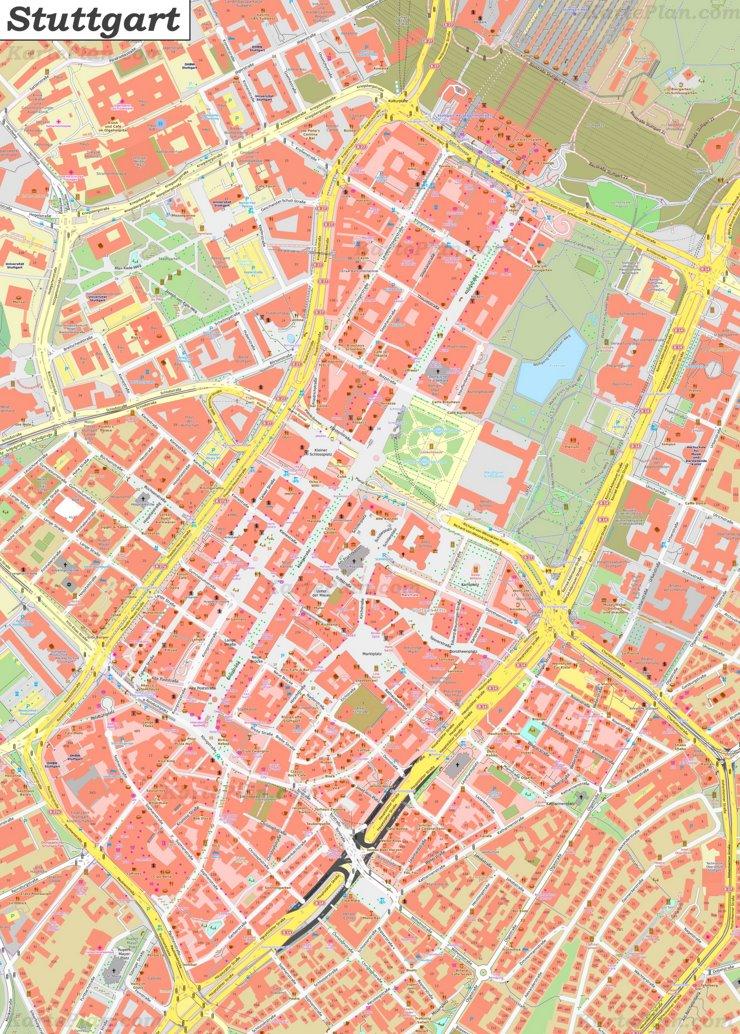 Karte von Stuttgarts Zentrum