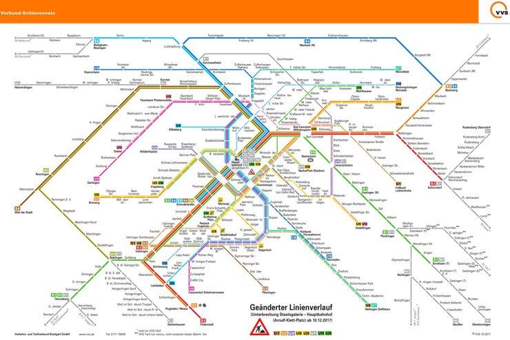 Schienennetzplan Stuttgart