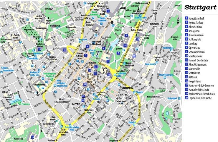 Stadtplan Stuttgart mit sehenswürdigkeiten
