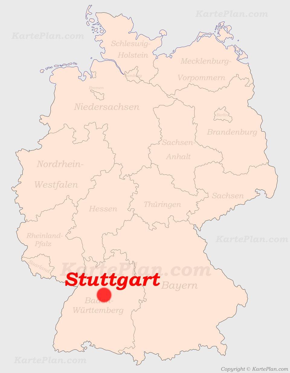 deutschland karte stuttgart Stuttgart auf der Deutschlandkarte
