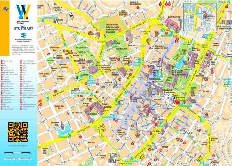 Touristischer stadtplan von Stuttgart