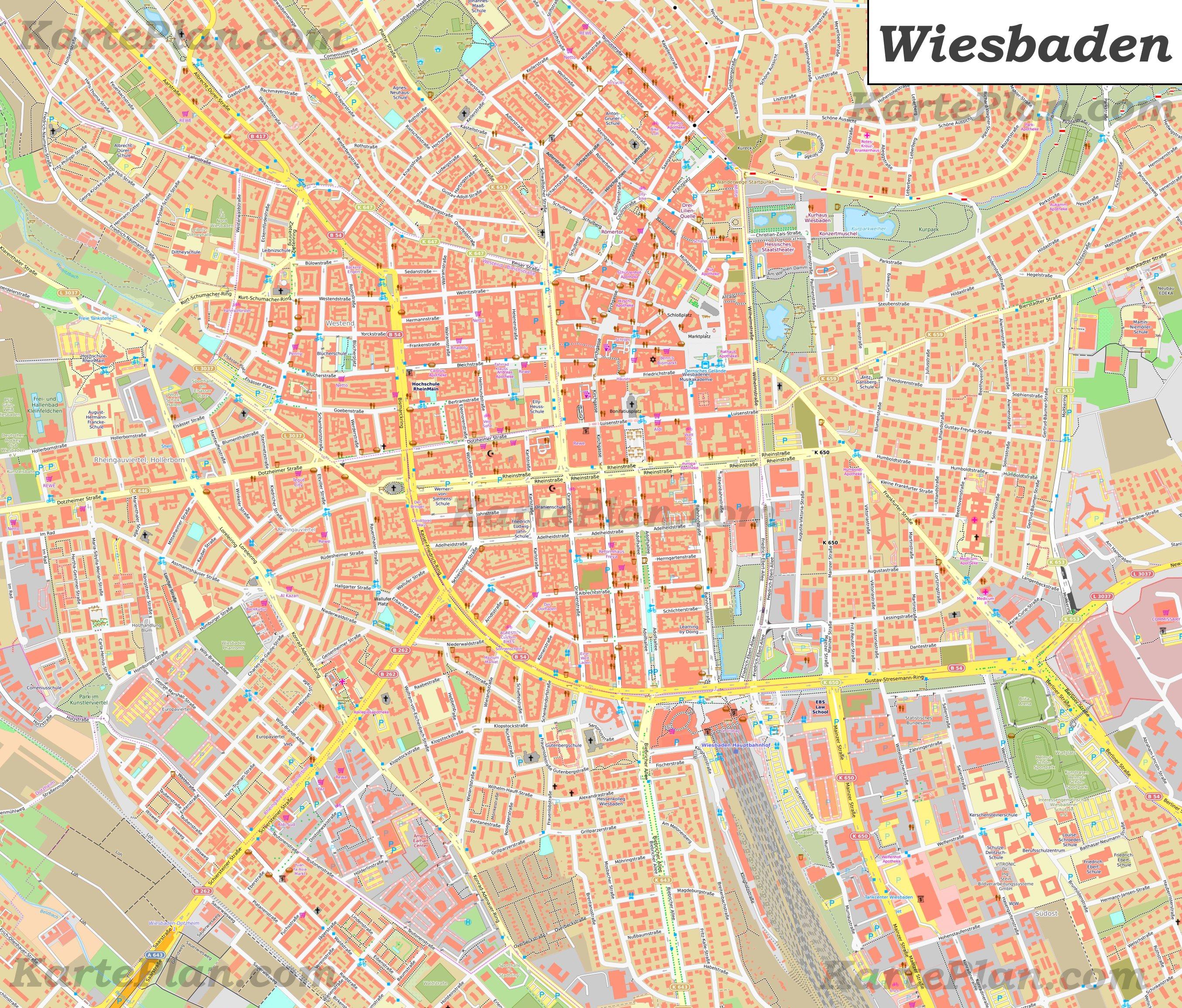 Grosse Detaillierte Stadtplan Von Wiesbaden