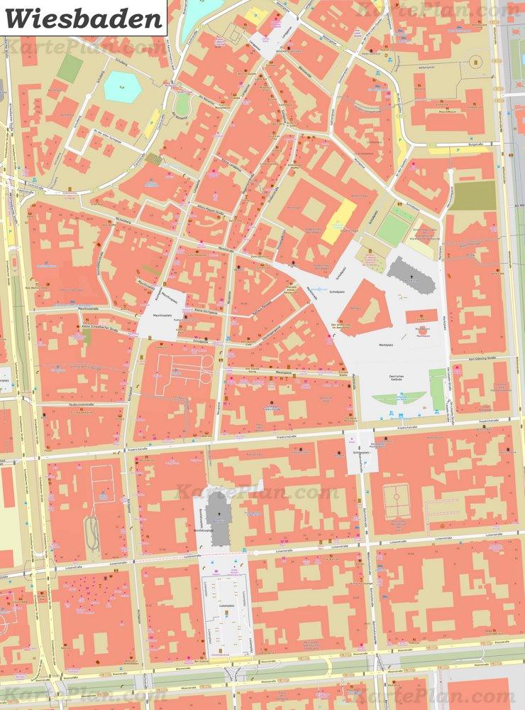 Karte von Wiesbadens Zentrum
