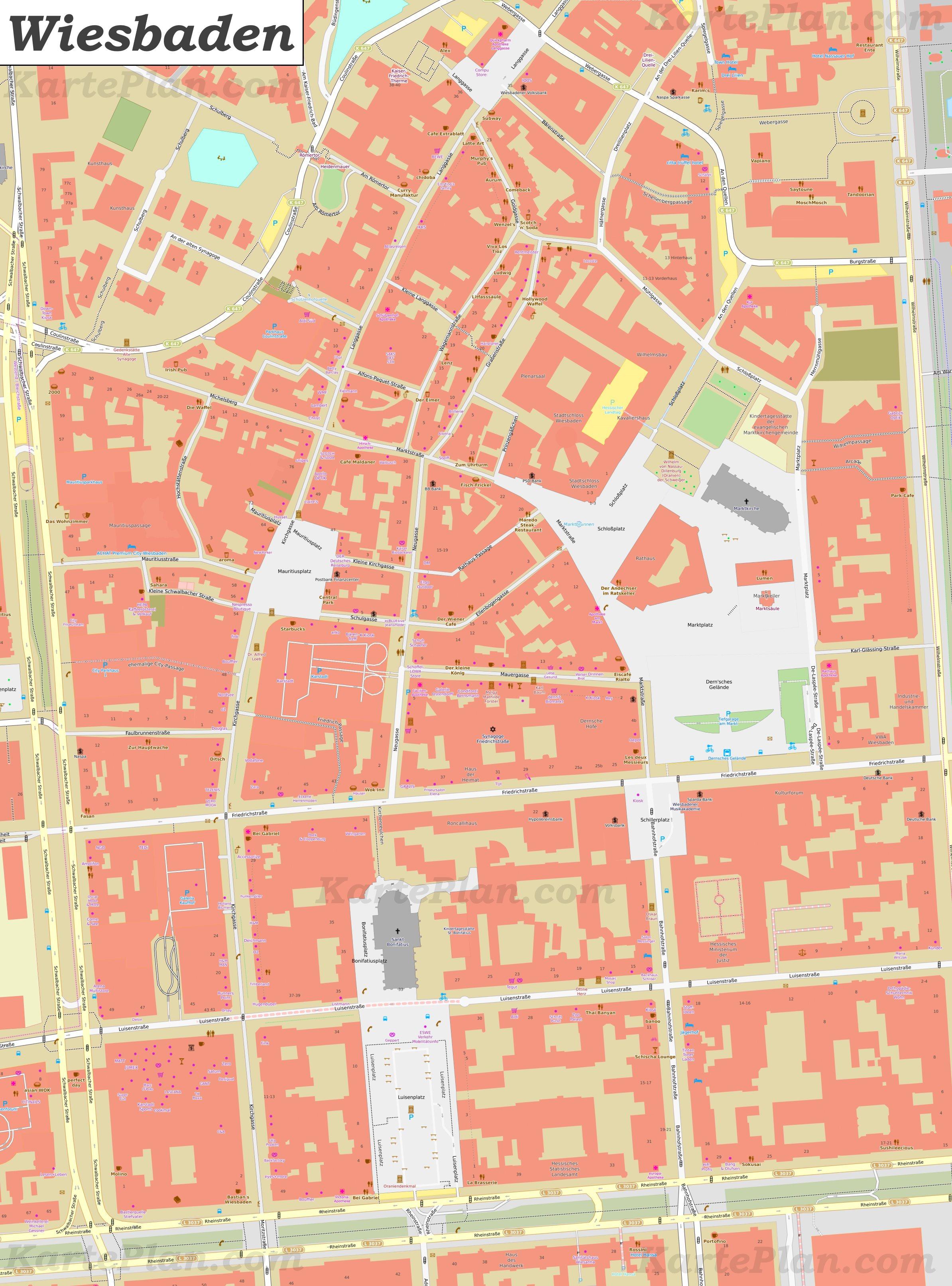 Wiesbaden Karte.Karte Von Wiesbadens Zentrum