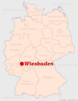 Wiesbaden auf der Deutschlandkarte
