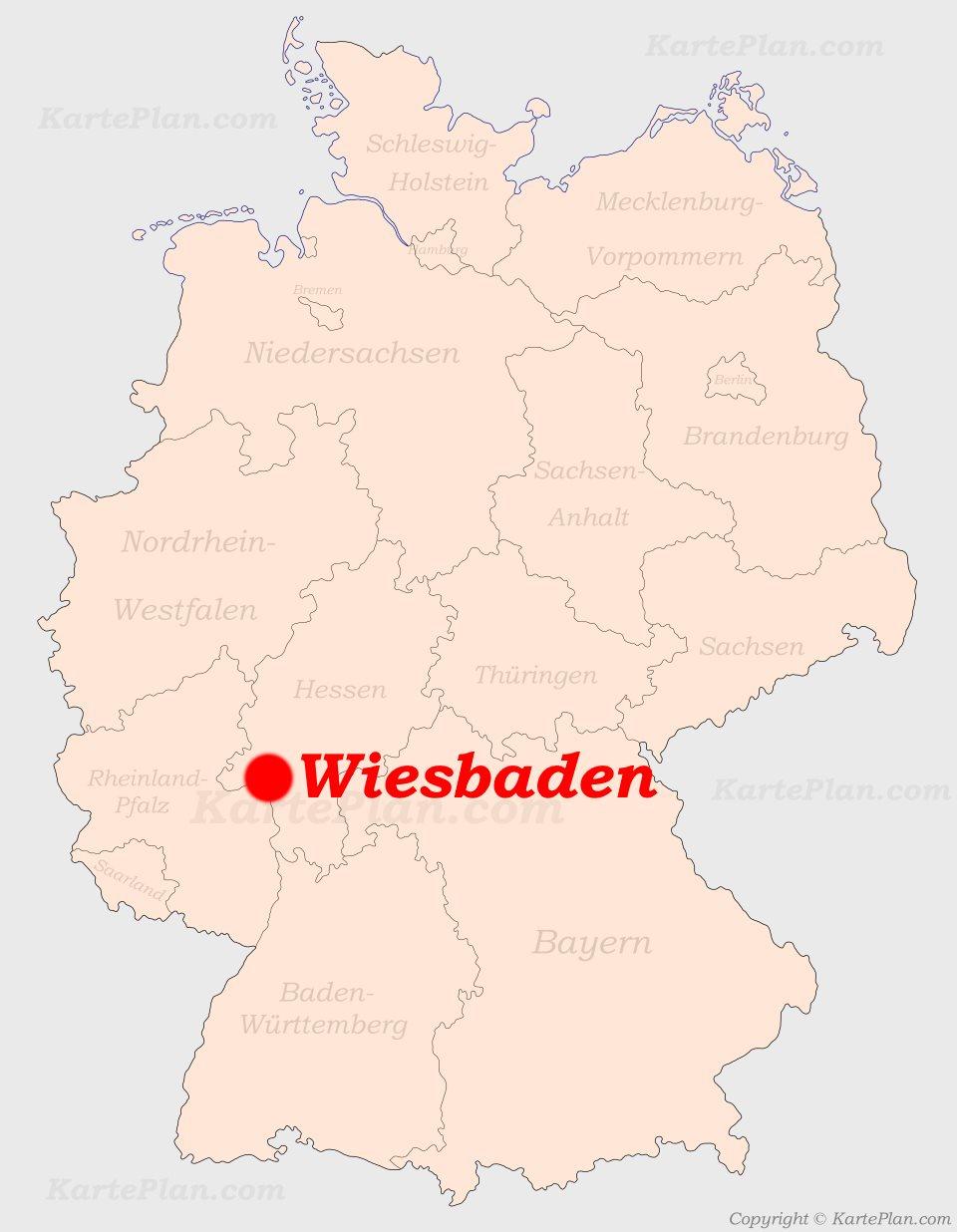 Wiesbaden Karte.Wiesbaden Auf Der Deutschlandkarte