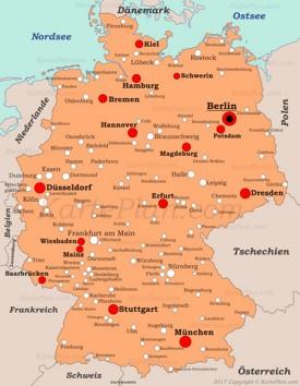 Städte in Deutschland - Landkarte