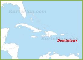 Dominica auf der karte Karibiks