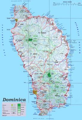 Große detaillierte karte von Dominica